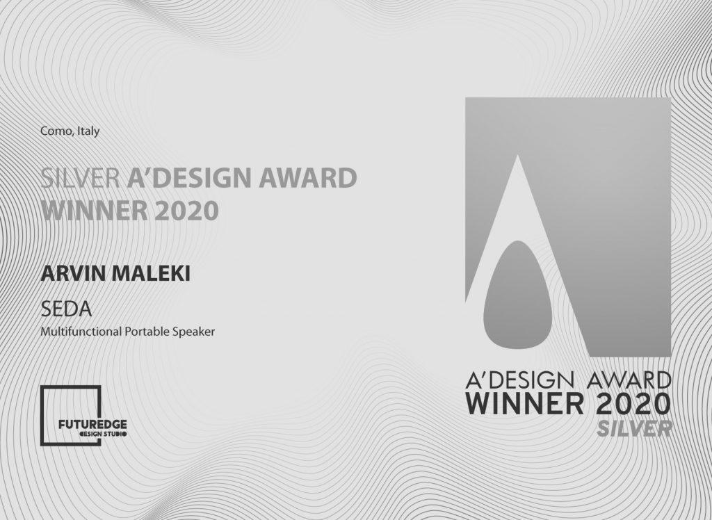 ARVIN MALEKI SILVER A'DESIGN AWARD WINNER 2020